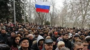 Protesters in Crimea Ukraine.